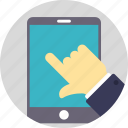 mobile interface, mobile phone operating, mobile usage, smartphone, user touches the mobile screen