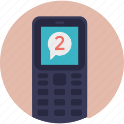 mobile inbox, mobile messaging, received sms, text messages, two new messages icon