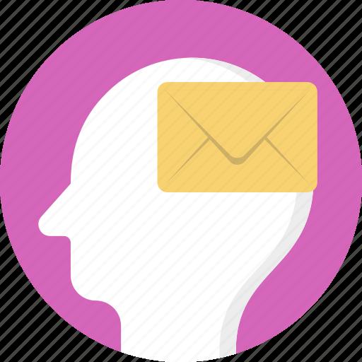 brain marketing, brain message, brain with email sign, email marketing strategy, neuromarketing icon