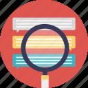 data cleansing, database analysis, inspecting data, modeling data, search database icon