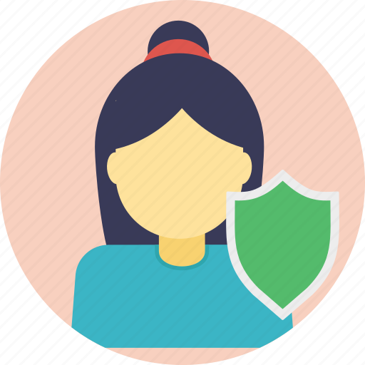 female and shield, identity protection, profile protection, protection, shield protection icon