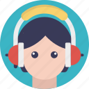 audio call, girl with headphones, woman listening music, woman wearing headphones, woman with headphone icon