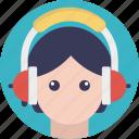audio call, girl with headphones, woman listening music, woman wearing headphones, woman with headphone