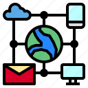 cloud, data, device, email, mail