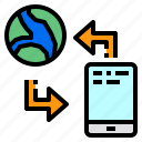communication, mobile, smartphone, transfer, world icon