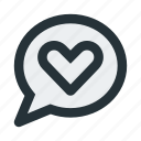 bubble, chat, communication, heart, love, message, talk icon