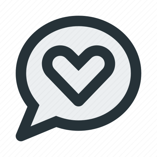 bubble, chat, communication, heart, love, message, talk icon