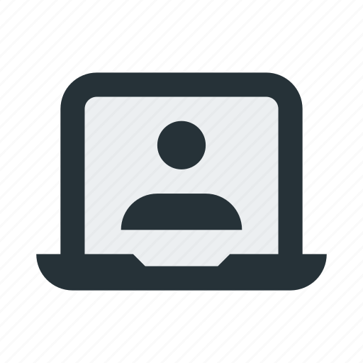 call, communications, conversation, laptop, meeting, video, webinar icon