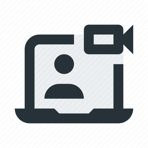 call, communication, laptop, meeting, video icon