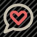 bubble, chat, heart, love, romance icon