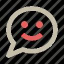 bubble, chat, communication, emotion, face, message, smile icon