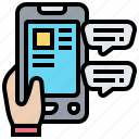chat, message, notify, online, smartphone icon
