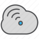 cloud, communication, data, media, signal icon