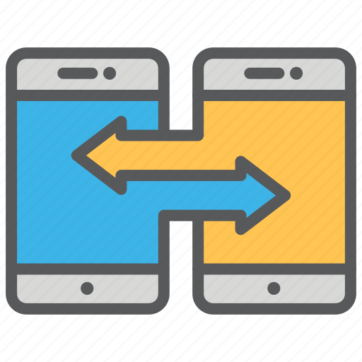 communication, data, media, smartphone, transfer icon