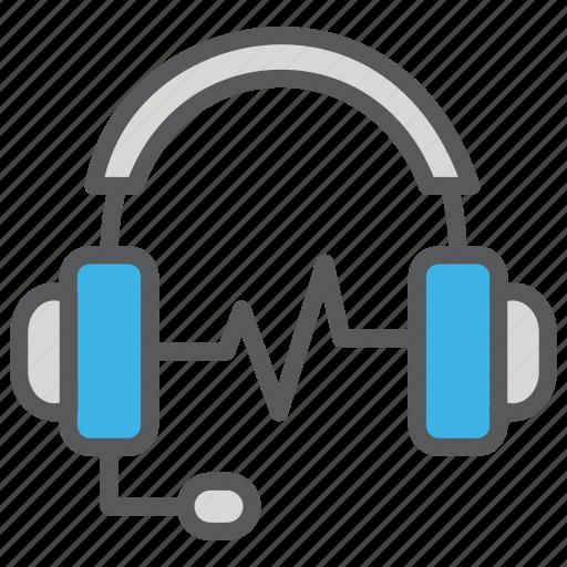 communication, headset, media, sound icon