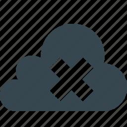 cancel, close, cloud, cloud close, data, delete, network icon