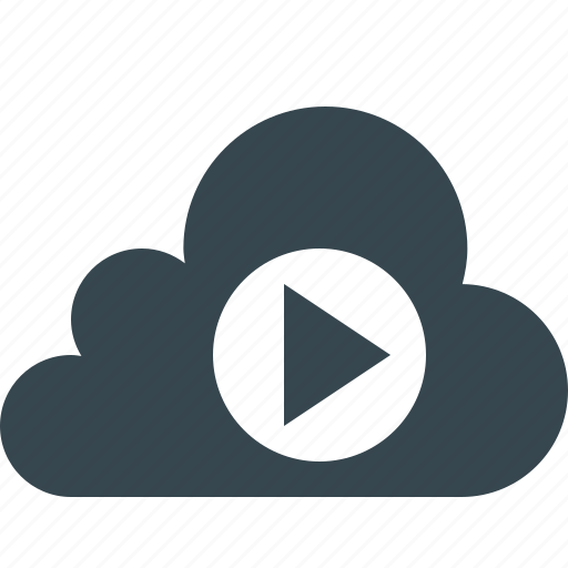 cloud, data, database, internet, play, server, viewing icon