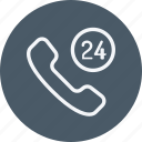 communication, device, hours, line, phone, service, telephone icon