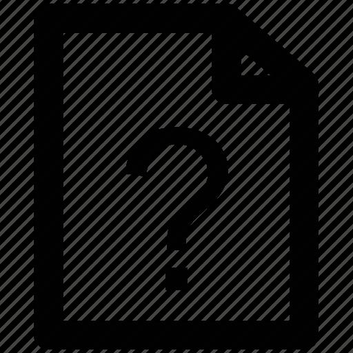 faq, question mark, uncheck document, unknown document, unnamed, unnamed documents icon