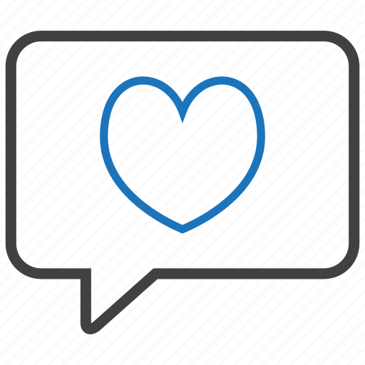 bubble, heart, love, romance icon
