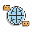 bubble, dialog, global, message, network, speech icon