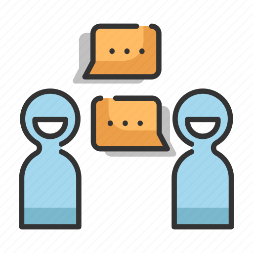bubble, dialog, message, people, speech, talk, two icon