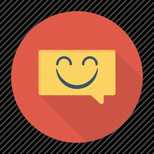 alert, bubble, notification, smile icon