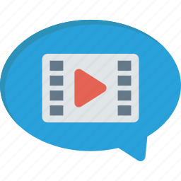 bubble, cinema, movie, video icon