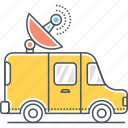 broadcast, radio, satellite, satellite truck, truck, van icon