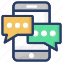conversation, messaging, mobile chatting, mobile communication, talking icon