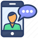 live call, mobile communication, online chat, online conversation, video call icon