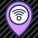 gps, location, navigation, search location, wifi location, wifi signal location icon