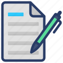 article writing, compose, editing, paper pen, write icon