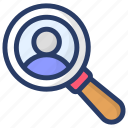 employee search, hiring, hiring employee, recruitment, talent search icon