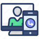 live call, online communication, online conversation, video call, web communication icon
