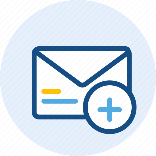 email, mail, message, plus icon