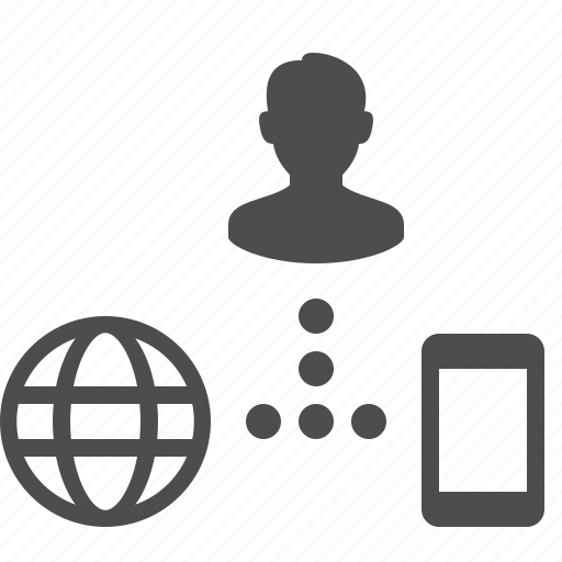 connection, globe, phone, share, sharing, smartphone, user icon