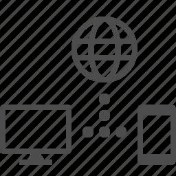communication, globe, internet, network, phone, smartphone, tv icon