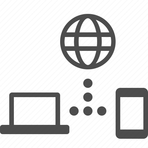 communication, connection, globe, laptop, phone, smartphone, web icon