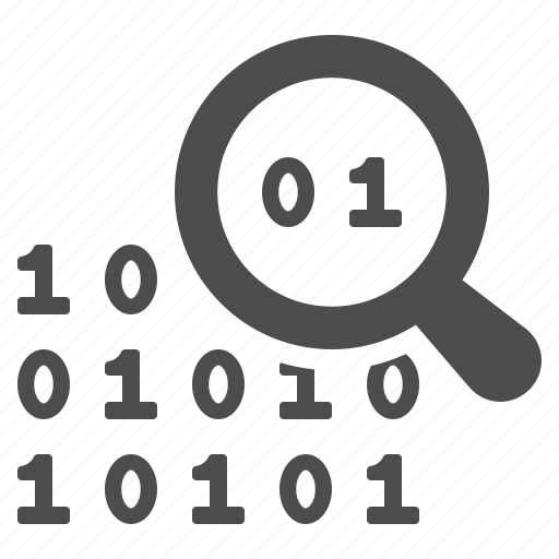 binary, code, coding, magnifying glass, programming, seo, web design icon