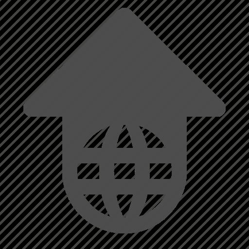 arrow, communication, global, globe, network, upload, web icon