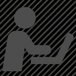 job, laptop, man, work, working icon