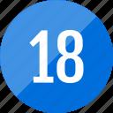 count, eighteen, number, numero icon