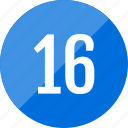 count, number, numero, sixteen icon
