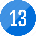 count, number, numero, thirteen icon