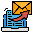 communications, computer, document, email, forwarding icon