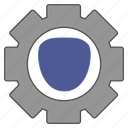 and, cog, department, industrial, labor, safety, shield icon