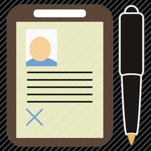 department, paper tablet, pen, personnel icon