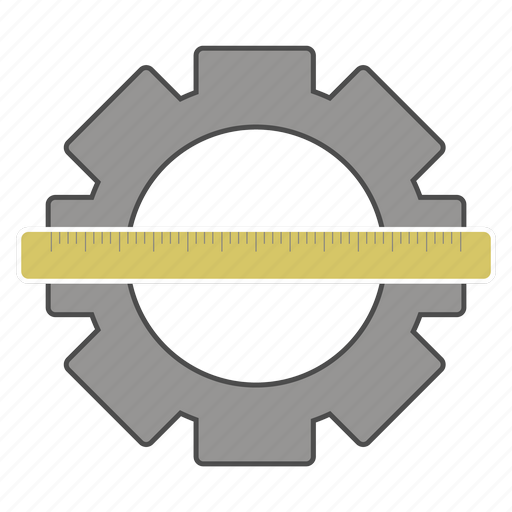 cog, control, department, ruler, technical icon