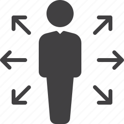 arrows, career, direction, opportunities, person icon